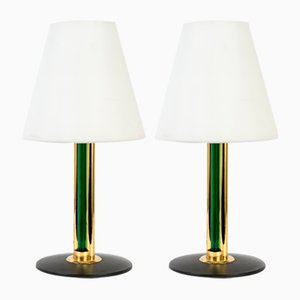 Vintage Murano Glass Table Lamps with Opaline Shades from Cenedese, Set of 2