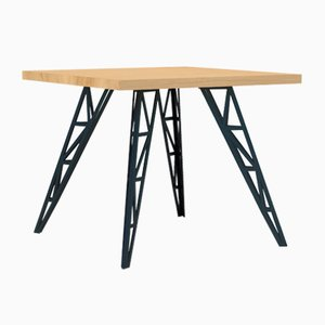 Small Dining Table with Oak Tabletop & Lasered Steel Legs by Aljoscha Vogt for GUSTAV Möblierungen