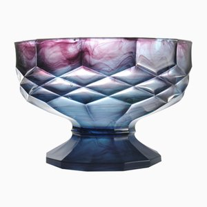 Blue Cloud Glass Model 697 Bowl from George Davidson, 1930s