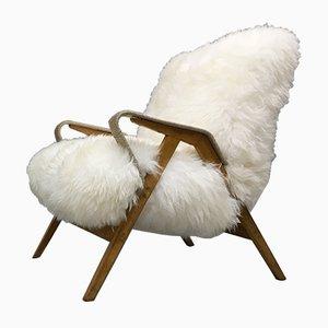 Fauteuil Art Déco en Peau de Mouton par Tatra Nabytok