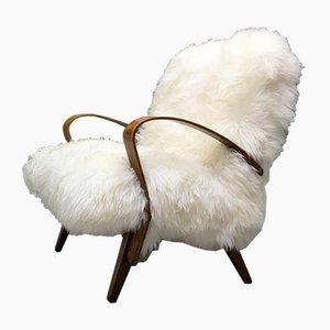 Vintage Sessel mit Bezug aus Schafsfell von Tatra Nabytok
