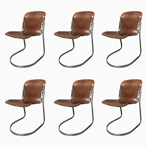Vintage Dining Chairs by Willy Rizzo for Cidue, 1970s, Set of 6