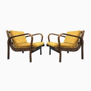 Senffarbene Stühle von Kropáček & Koželka, 1960er, 2er Set