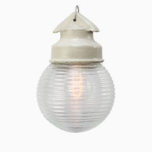Lampada vintage industriale in vetro bianco di Holophane