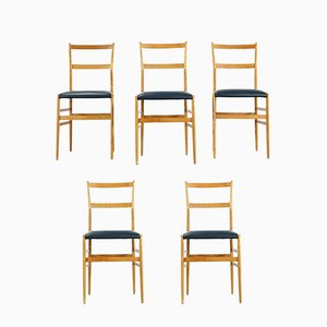 Superleggera Dining Chairs by Gio Ponti for Cassina, 1958, Set of 5