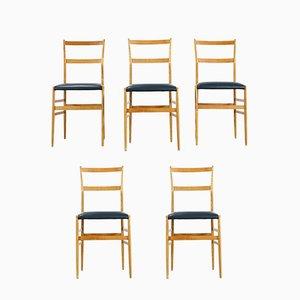 Superleggera Esszimmerstühle von Gio Ponti für Cassina, 1958, 5er Set