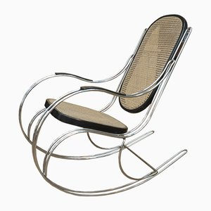 Vintage Wood & Chromed Metal Rocking Chair, 1970s