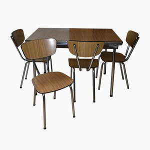 Vintage Formica Dining Set with Table and 4 Chairs, 1960s