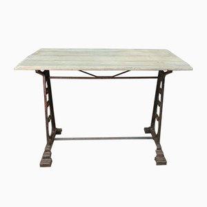 Mesa de bistró de roble y metal, años 20