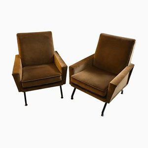 Mid-Century Modern Italian Brown Velvet Armchairs, Set of 2