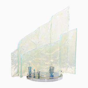 Lampada da tavolo in vetro opalino di Carlo Nason per Mazzega, anni '60