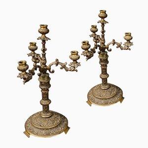 Italienische Vintage Kerzenständer aus Bronze, 2er Set