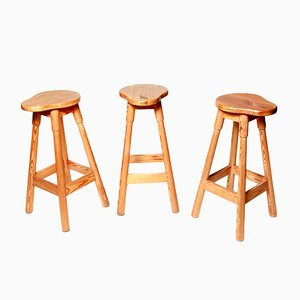 Pine Stools, 1970s, Set of 3