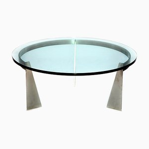 Mesa de centro vintage redonda de metal cromado y vidrio de Metaform, años 80