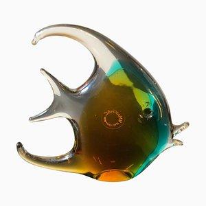 Pez italiano de cristal de Murano Sommerso de V. Nason & C., años 70