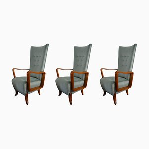 High Back Armchairs, 1950s, Set of 3