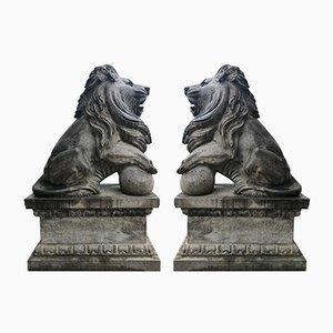 Sculture a forma di leone antiche in pietra, set di 2
