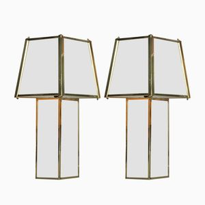 Hollywood Regency Brass and Mirrored Glass Table Lamps, 1960s, Set of 2