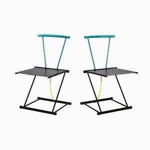 Postmoderne Stahlstühle, 1980er, 2er Set