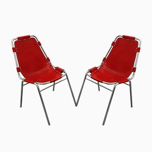 Vintage Les Arcs Dining Chairs by Charlotte Perriand for Dal Vera, 1960s, Set of 2