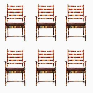 Chaises de Salle à Manger Sud-Américaines Mid-Century en Tissu et Bois, Set de 6