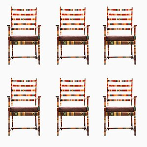Mid-Century South American Fabric and Wood Dining Chairs, Set of 6