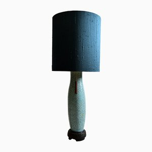 Mid-Century Ceramic & Silk Table Lamp by Pieter Groeneveldt, 1950s