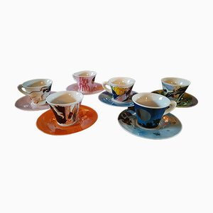 German Metal and Porcelain ES 94-99 Coffee Cup Set by Ettore Sottsass for Zeitler, 1999