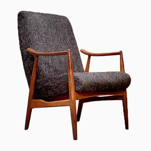 Vintage Fabric and Wood Lounge Chair, 1970s