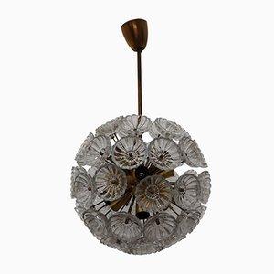 Mid-Century Sputnik Deckenlampe aus Kristallglas, 1960er