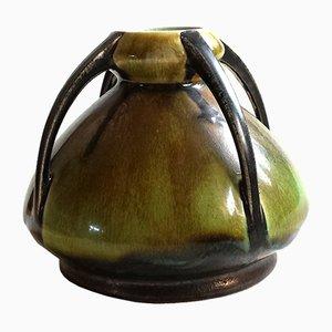 Vase Art Nouveau en Céramique avec Quatre Poignées
