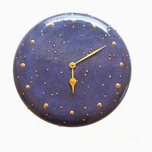 Horloge Murale en Céramique Bleu Cobalt, 1980s