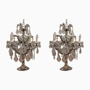 Early 20th-Century Italian Crystal Glass Girandoles, Set of 2
