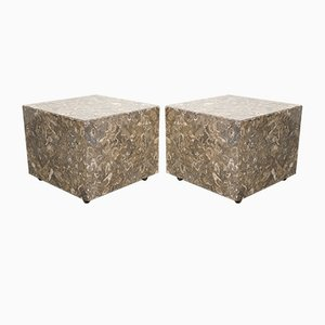 Italian Marble Cube Side Tables, 1970s, Set of 2