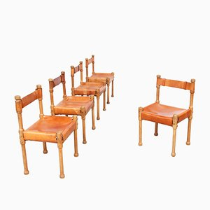 Leather Hunting Dinning Chairs, 1960s, Set of 5