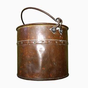 Cubo de carbón o macetero victoriano de cobre