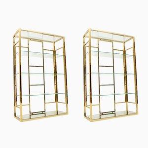 Muebles italianos vintage de latón y vidrio, años 70. Juego de 2