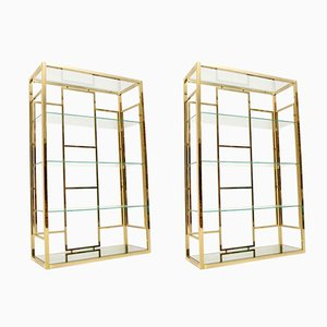 Vintage Italian Brass and Glass Cabinets, 1970s, Set of 2