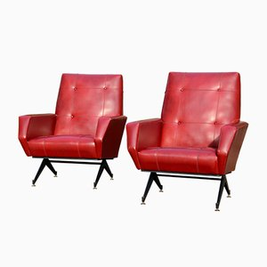 Mid-Century Italian Skai Lounge Chairs, 1950s, Set of 2