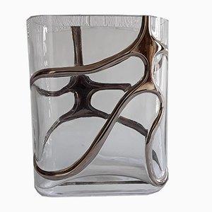 Ovale Vintage Vase aus Kristallglas von Eisch