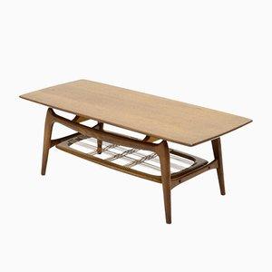 Mesa de centro vintage escultural de teca de Louis van Teeffelen para WéBé, años 50