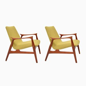 Danish Teak Armchairs by Arne Hovmand-Olsen for Mogens Kold, 1950s, Set of 2