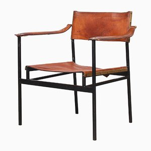 Italian Leather and Brass Side Chair, 1960s
