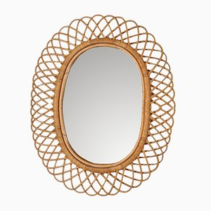 Mid-Century Italian Rattan Mirror, 1950s