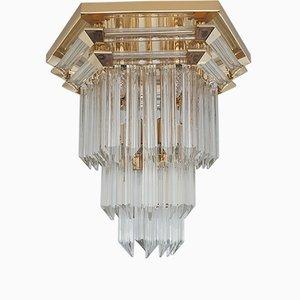 Vergoldete Vintage Deckenlampe aus Kristallglas von Bakalowits & Söhne, 1970er