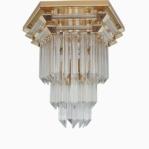 Vintage Gold-Plated & Crystal Glass Ceiling Lamp from Bakalowits & Söhne, 1970s