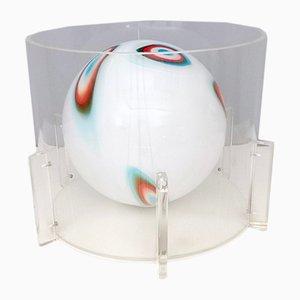 Lampada da tavolo sferica in vetro di Murano, plexiglas e metallo verniciato, anni '60
