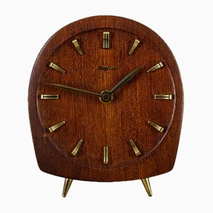 Teak & Brass Table Clock from Dugena, 1940s