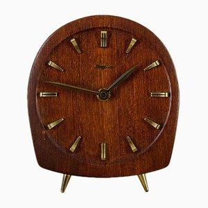 Teak & Brass Table Clock from Dugena, 1940s