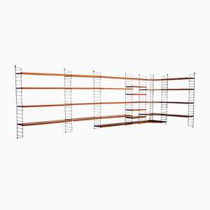 Large Teak Modular Wall Shelf by Nisse Strinning for String, 1950s